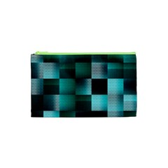 Background Squares Metal Green Cosmetic Bag (xs) by Nexatart