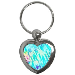 Blue Background Art Abstract Watercolor Key Chains (heart)  by Nexatart