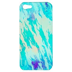 Blue Background Art Abstract Watercolor Apple Iphone 5 Hardshell Case by Nexatart