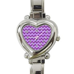 Background Fabric Violet Heart Italian Charm Watch by Nexatart