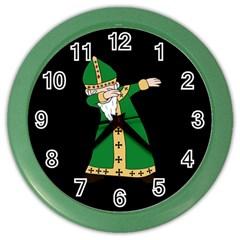 St  Patrick  Dabbing Color Wall Clocks by Valentinaart