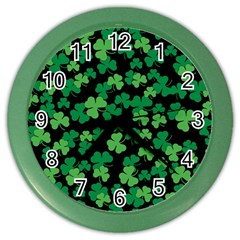 St  Patricks Day Clover Pattern Color Wall Clocks by Valentinaart