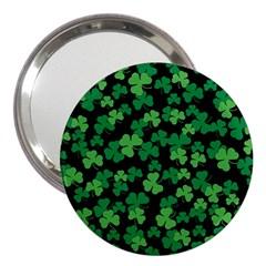 St  Patricks Day Clover Pattern 3  Handbag Mirrors by Valentinaart
