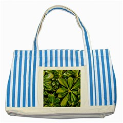 Top View Leaves Striped Blue Tote Bag by dflcprints