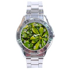 Top View Leaves Stainless Steel Analogue Watch by dflcprints