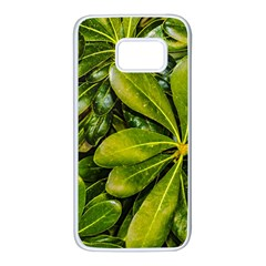 Top View Leaves Samsung Galaxy S7 White Seamless Case by dflcprints