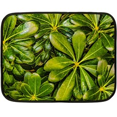 Top View Leaves Fleece Blanket (mini) by dflcprints