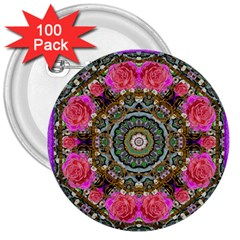 Roses In A Color Cascade Of Freedom And Peace 3  Buttons (100 Pack)  by pepitasart