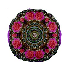 Roses In A Color Cascade Of Freedom And Peace Standard 15  Premium Round Cushions by pepitasart