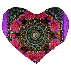 Roses In A Color Cascade Of Freedom And Peace Large 19  Premium Heart Shape Cushions by pepitasart