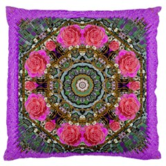 Roses In A Color Cascade Of Freedom And Peace Large Flano Cushion Case (two Sides) by pepitasart