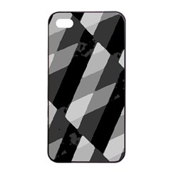 Black And White Grunge Striped Pattern Apple Iphone 4/4s Seamless Case (black) by dflcprints