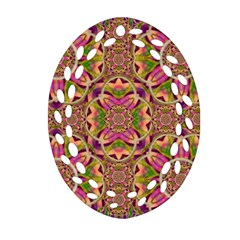 Jungle Flowers In Paradise  Lovely Chic Colors Oval Filigree Ornament (two Sides) by pepitasart