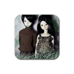 Dolls In The Grass Rubber Square Coaster (4 Pack)  by snowwhitegirl