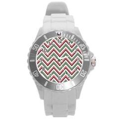 Chevron Blue Pink Round Plastic Sport Watch (l) by snowwhitegirl