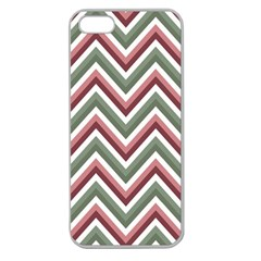 Chevron Blue Pink Apple Seamless Iphone 5 Case (clear) by snowwhitegirl