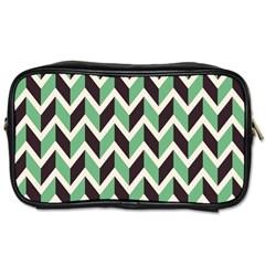 Zigzag Chevron Pattern Green Black Toiletries Bags 2 Side by snowwhitegirl