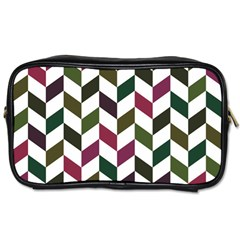 Zigzag Chevron Pattern Green Purple Toiletries Bags 2 Side by snowwhitegirl