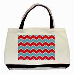 Zigzag Chevron Pattern Blue Red Basic Tote Bag