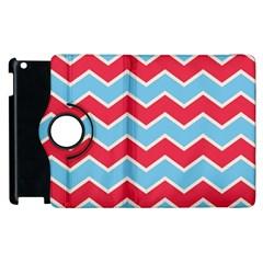 Zigzag Chevron Pattern Blue Red Apple Ipad 2 Flip 360 Case by snowwhitegirl