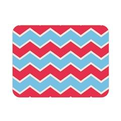 Zigzag Chevron Pattern Blue Red Double Sided Flano Blanket (mini)  by snowwhitegirl