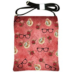 Vintage Glasses Rose Shoulder Sling Bags by snowwhitegirl