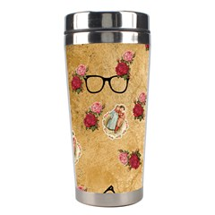 Vintage Glasses Beige Stainless Steel Travel Tumblers by snowwhitegirl