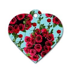 Roses Blue Dog Tag Heart (one Side) by snowwhitegirl