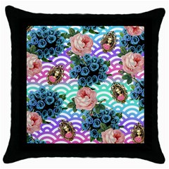 Floral Waves Throw Pillow Case (black) by snowwhitegirl