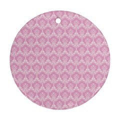 Damask Pink Round Ornament (two Sides) by snowwhitegirl