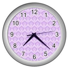 Damask Lilac Wall Clocks (silver)  by snowwhitegirl