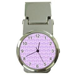 Damask Lilac Money Clip Watches by snowwhitegirl