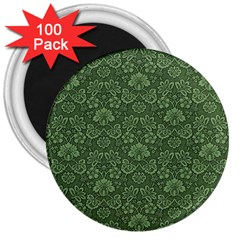Damask Green 3  Magnets (100 Pack)