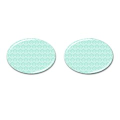 Damask Aqua Green Cufflinks (oval) by snowwhitegirl