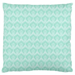 Damask Aqua Green Large Flano Cushion Case (one Side) by snowwhitegirl