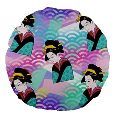 Japanese Abstract Large 18  Premium Flano Round Cushions by snowwhitegirl