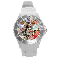 Victorian Collage Round Plastic Sport Watch (l) by snowwhitegirl