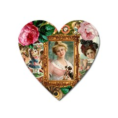 Victorian Collage Of Woman Heart Magnet by snowwhitegirl