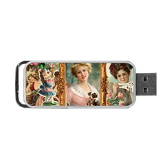 Victorian Collage Of Woman Portable Usb Flash (two Sides) by snowwhitegirl