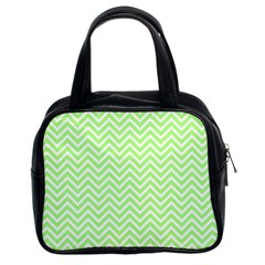 Green Chevron Classic Handbags (2 Sides)