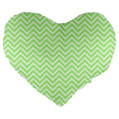 Green Chevron Large 19  Premium Heart Shape Cushions by snowwhitegirl