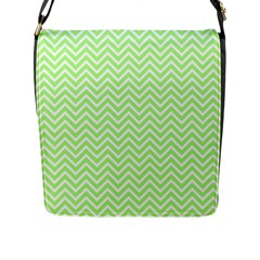 Green Chevron Flap Messenger Bag (l)  by snowwhitegirl