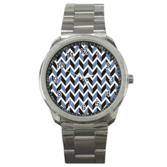 Chevron Blue Brown Sport Metal Watch by snowwhitegirl
