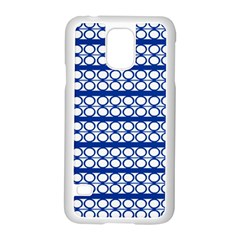 Circles Lines Blue White Samsung Galaxy S5 Case (white) by BrightVibesDesign