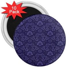 Damask Purple 3  Magnets (10 Pack)  by snowwhitegirl