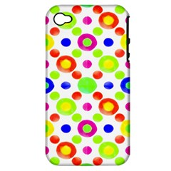Multicolored Circles Motif Pattern Apple Iphone 4/4s Hardshell Case (pc+silicone) by dflcprints