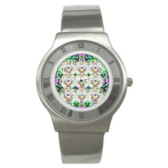 Nine Little Cartoon Dogs In The Green Grass Stainless Steel Watch by pepitasart