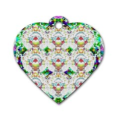 Nine Little Cartoon Dogs In The Green Grass Dog Tag Heart (two Sides) by pepitasart