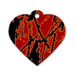 Vivid Abstract Grunge Texture Dog Tag Heart (one Side) by dflcprints