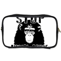 Stop Animal Abuse   Chimpanzee  Toiletries Bags 2 Side by Valentinaart